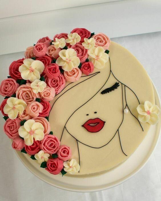 Floral Face Cake