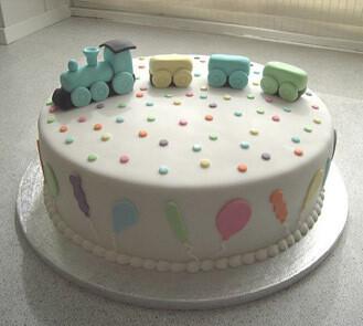 Baby Block Train Theme Cake