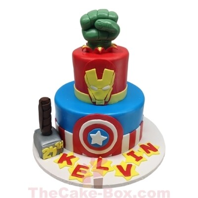 Marvel Heroes Tiered Cake