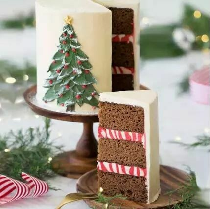 Painted Christmas Tree Cake