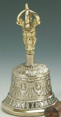 Seven Metal Handle Bell w/ Wood Seven Metal Handle Bell Antique Brass/5.5 H