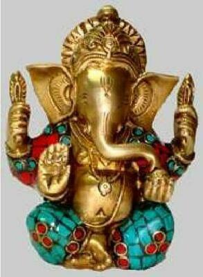 Brass Ganesh Sitting W/Stone Work 6H