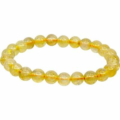 Elastic Gemstone Bracelet Round Peach Moonstone 6MM