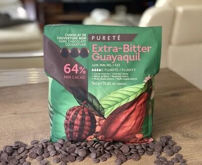 Чорний Шоколад  Екстра гіркий GUAYAQUIL 64%,  1 кг.