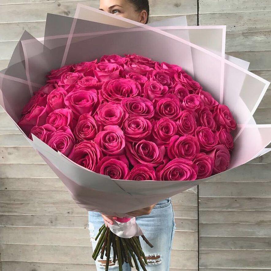 Букет из 51 розы Эквадор Премиум Пинк Флоид