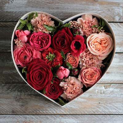Коробка цветов Сердце