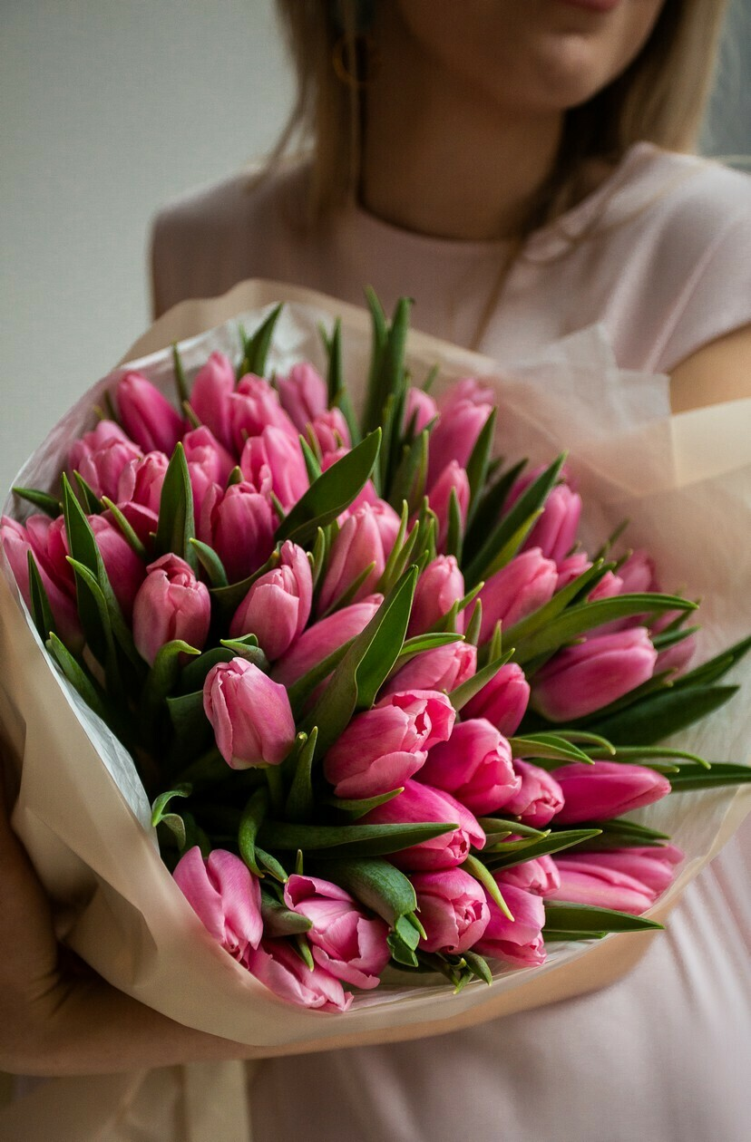 Букет из тюльпанов розовое облако