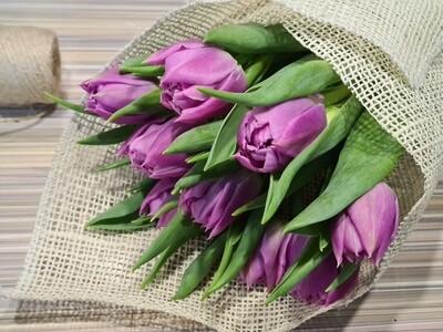 Тюльпаны пионовидные 9 шт в оформление.