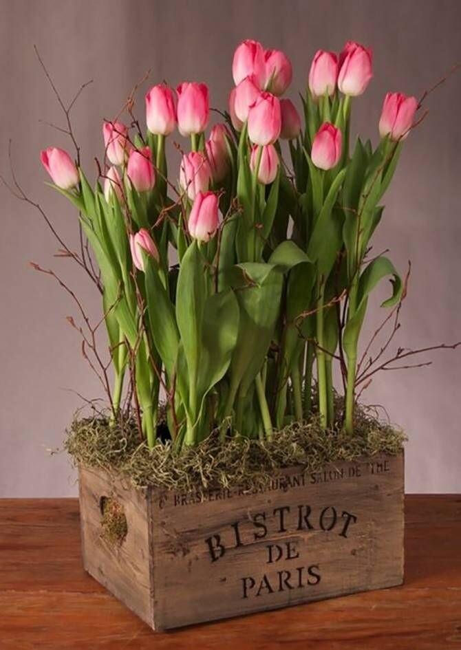Тюльпаны в деревянной ящике.