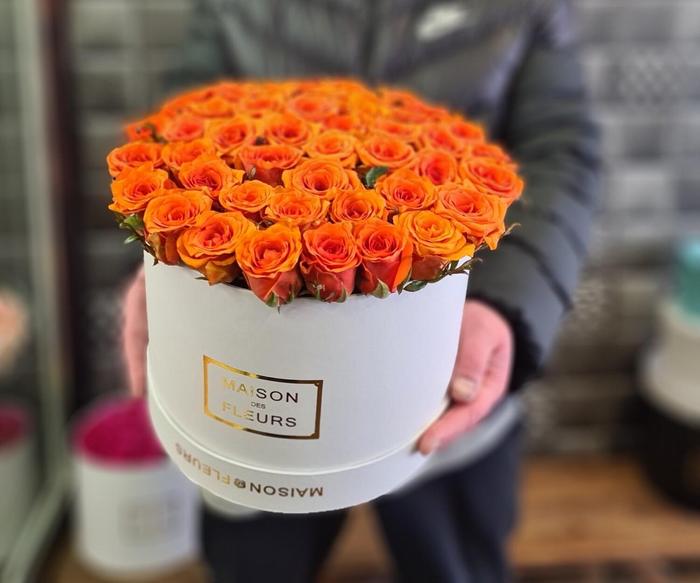 Коробка из роз рыжик