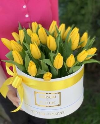 Коробка солнечных тюльпанов