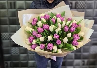 Букет нежный микс тюльпанов
