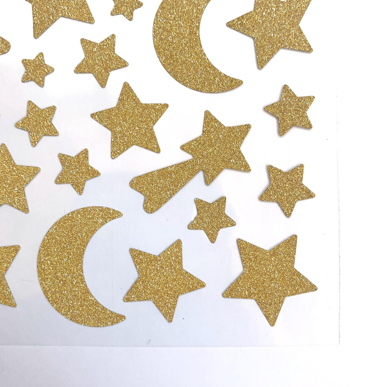 Lunas y Estrellas Glitter Dorado