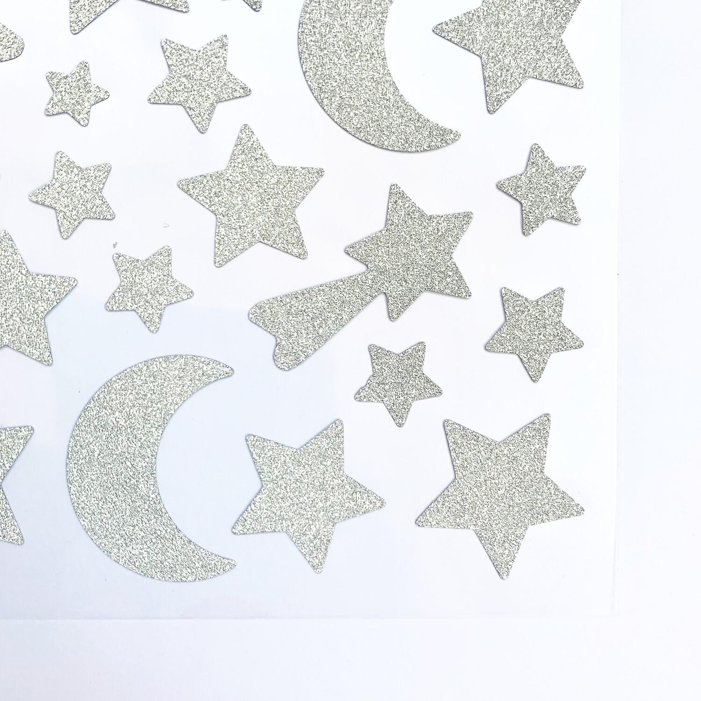 Lunas y Estrellas Glitter Plateado