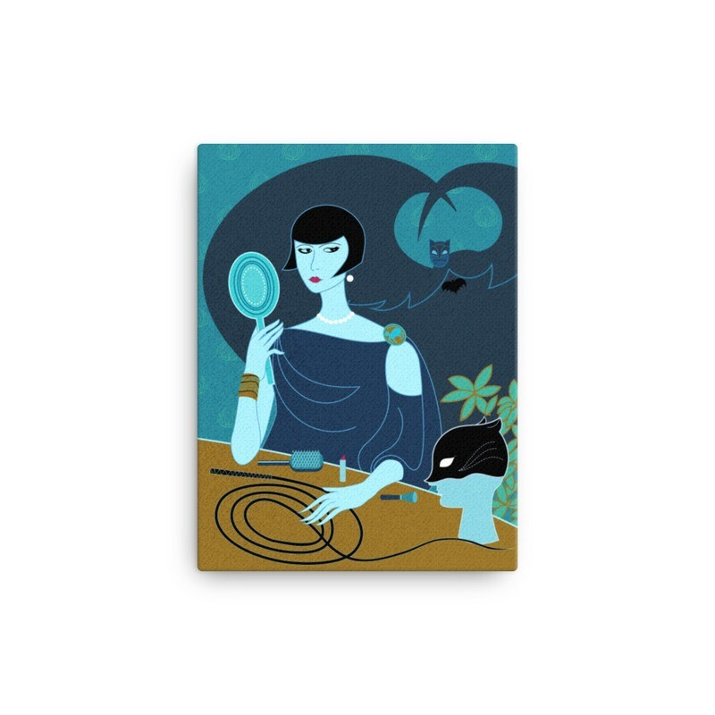 Cat and the Bat/Art Deco Style Canvas