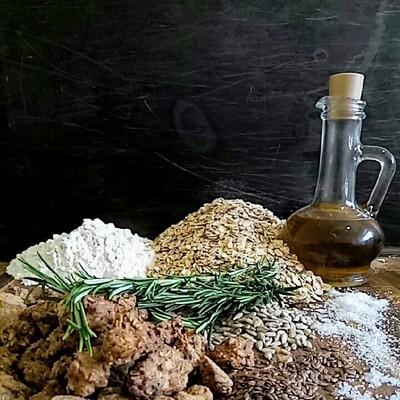 Печенье овсяное с розмарином, семечками и льном