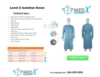 Level 2 Isolation Gown (case of 100)