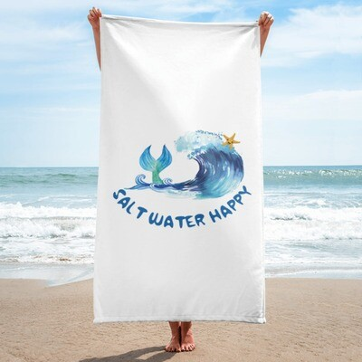 Salt Water Happy Beach Towel