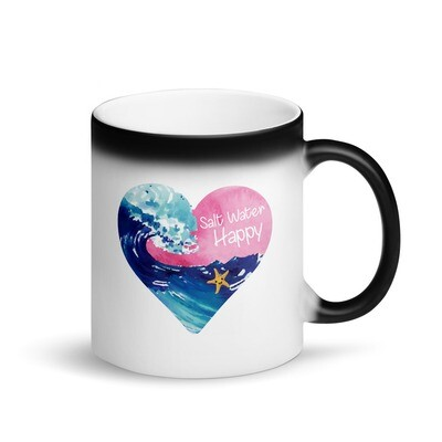 Salt Water Happy Heart Matte Black Magic Mug