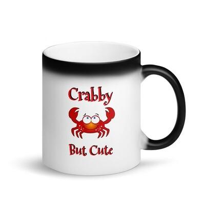 Crabby But Cute Matte Black Magic Mug