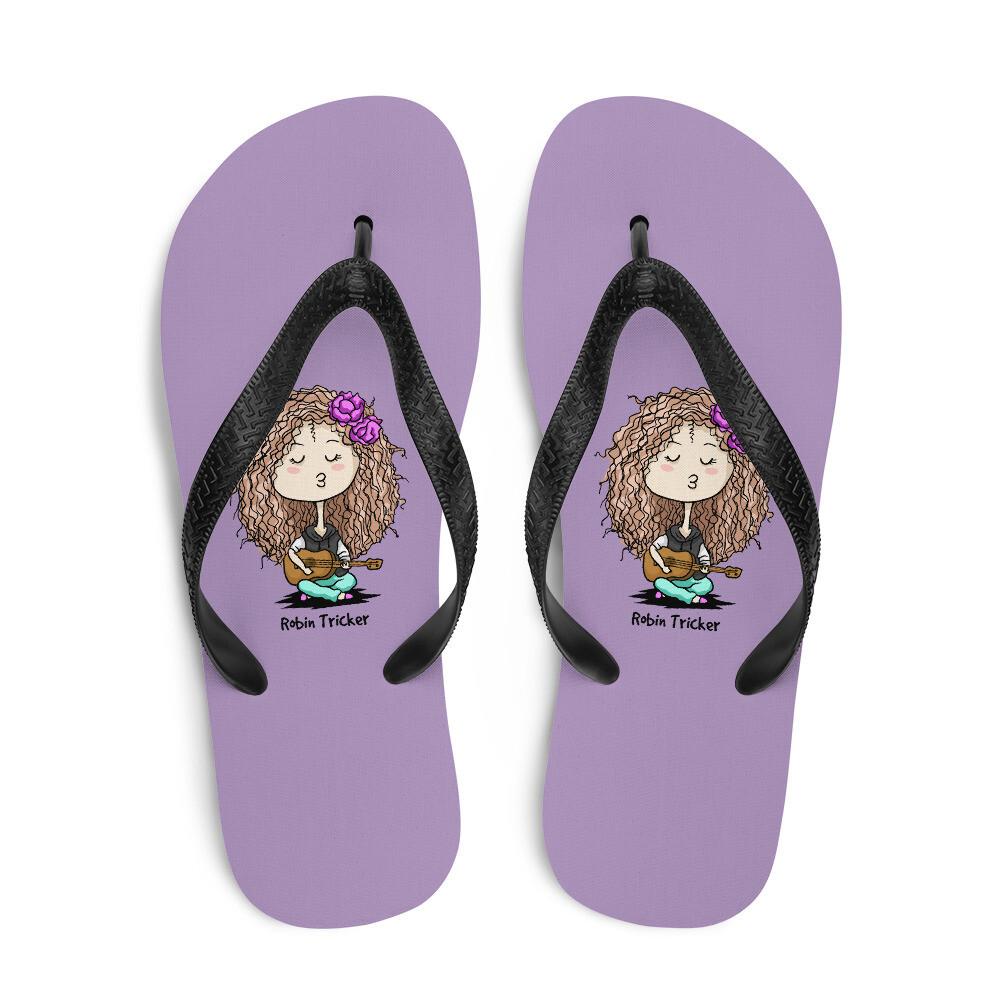 Ukulele Girl Purple Flip-Flops