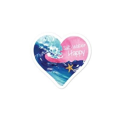 Salt Water Happy Heart Bubble-free stickers