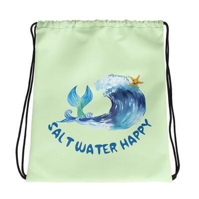 Salt Water Happy Green Drawstring bag
