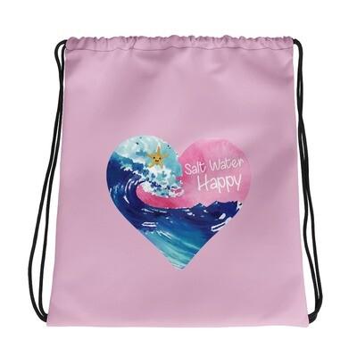 Salt Water Happy Pink Drawstring bag