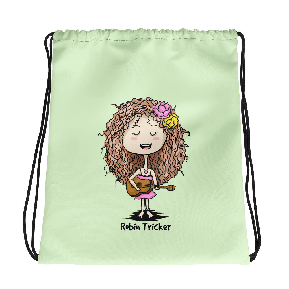 Ukulele Girl Green Drawstring bag