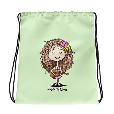 Ukulele Girl Green Drawstring bag