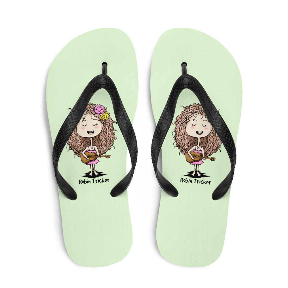 Ukulele Girl Green Flip-Flops