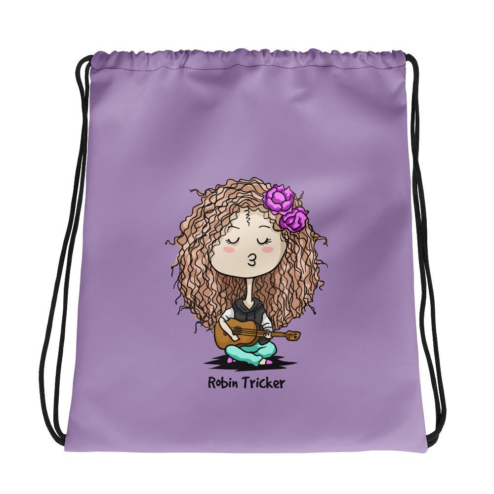 Ukulele Girl Purple Drawstring bag