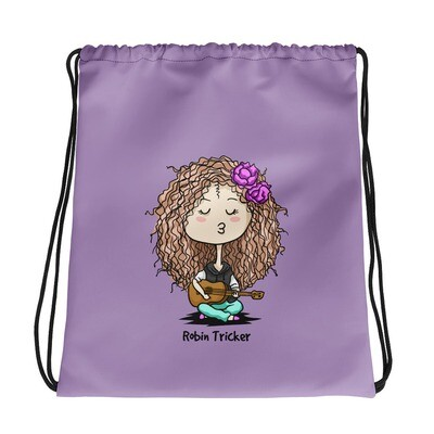 Ukulele Girl Purple Drawstring bag
