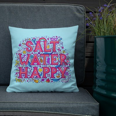 "Salt Water Happy Premium Aqua Pillow 18"" X 18"""