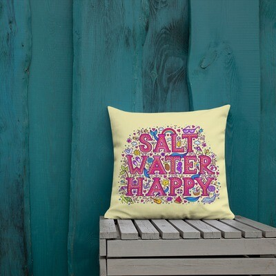 "Salt Water Happy Yellow Premium Pillow 18"" X 18"""