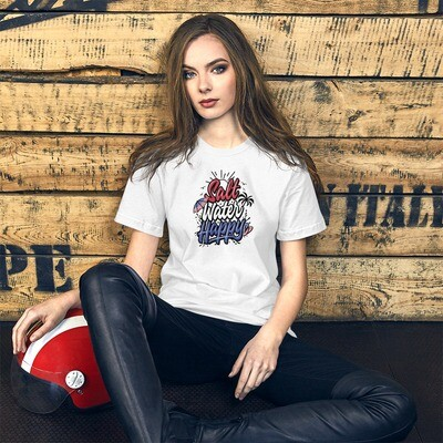 Salt Water Happy, Red, White, and Blue, Patriotic Short-Sleeve Unisex T-Shirt