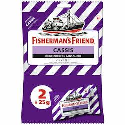Fisherman's Friend Pastilles pour la gorge au cassis sans sucre 2x25g 50g