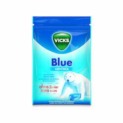 Vicks Pastilles bleu pour la gorge sans sucre 72g