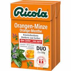 Ricola Pastilles à l'orange & menthe sans sucre 2x50g 100g