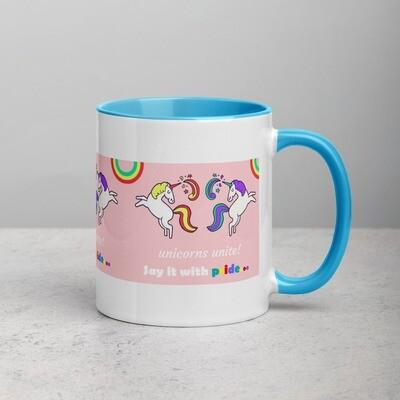 LGBTQ+ Unicorns Unite Positive Pride Mug with Color Inside