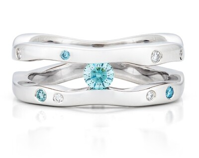 Seine-White Gold/Blue Diamonds