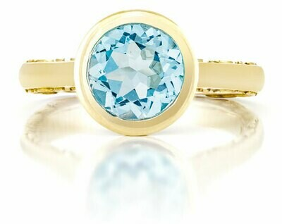 CC Tuileries©—Yellow Gold with Blue Topaz