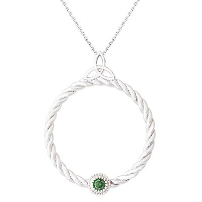 CC Celtic Braid©—Silver w/ Green Diamond