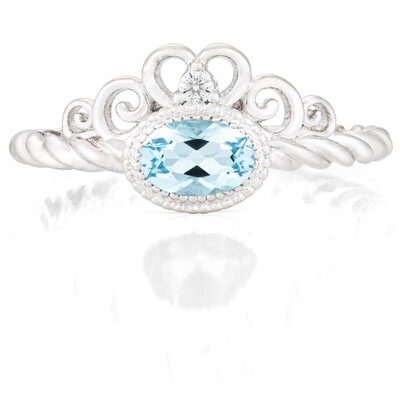 CC Galway Ring—White Gold with Sky Blue Topaz