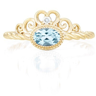 CC Galway Ring—Yellow Gold with Sky Blue Topaz