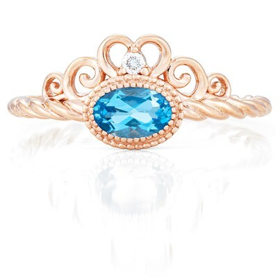 CC Galway Ring—Rose Gold with Swiss Blue Topaz