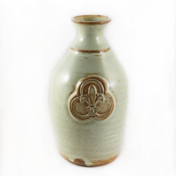 Pottery Bud Vase with Trinity Logo (Seafoam Green)