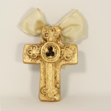 "India Stewart Double Resin Trinity Cross Ornament 4""x 3"""