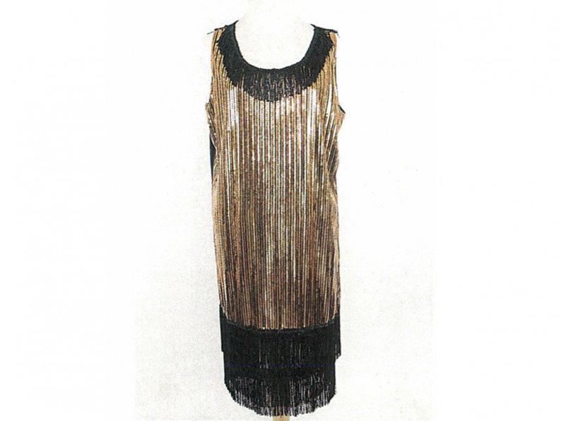 Black and Gold Sequin Saints Dress Medium