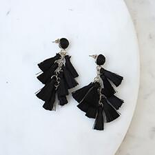 Black and Gold Tassel Earrings
